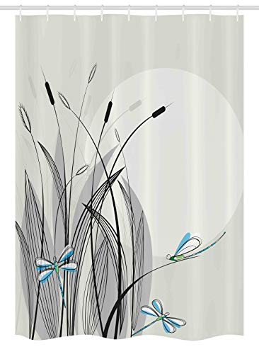 Ambesonne Dragonfly Stall Shower Curtain, Dragonflies on Flowers and Branches Flourishing Nature Spring Time Predator Print, Fabric Bathroom Decor Set with Hooks, 54