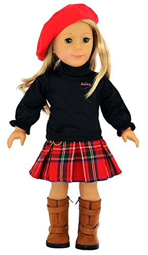 (Ebuddy 3pc Skirt School Outfit Clothes Fits 18 Inch Girl Doll)