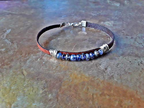 Water Sapphire Iolite Wire Wrapped Leather Bracelet ()