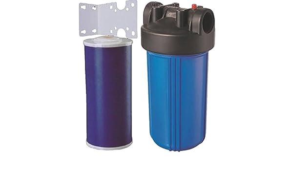 10 Big azul toda la casa Gag carbono filtro de agua purificador para cloro, mal sabor y olor W/soporte cartucho láser: Amazon.es: Bricolaje y herramientas
