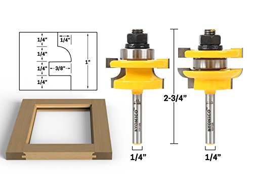 Yonico 12241q Round Over 2 Bit Rail and Stile Router Bit Set with 1/4