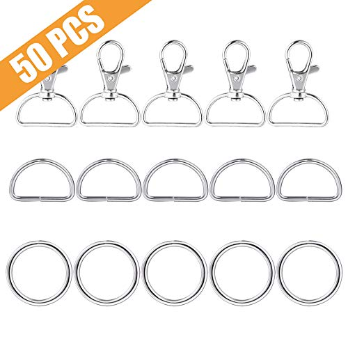 Metal Snap Hook Ring Bulk 50 Pcs, Lucky Goddness 10pcs Swivel Clasp Buckle, 20pcs Non-Welded D Ring and 20pcs O Ring- Perfect for Keychain, Purse Hardware Suplies, DIY Project, Handmade Crafts