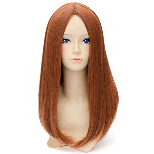 RightOn 20'' Long Straight Hair Cosplay Costume Party Wig with Wig Cap (Dark (Mother Nature Costume Hair)