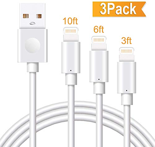 Marchpower iPhone Charger Cable 3Pack 3/6/10FT MFi Certified Lightning Cord USB A Fast Charging Compatible with iPhone SE 11 Pro MAX X Xs XR 8 Plus 7 Plus 6S Plus 5S SE iPod iPad Pro Touch Mini