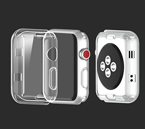 for iWatch Clear Protector Case HP95(TM) Soft Ultra-Slim Clear Full Cover TPU Case Frame For Apple Watch Series 2/3 42mm & 38mm-360 Degree Full Protection (For iWatch Series 2/3 42mm) by HP95 (Image #4)
