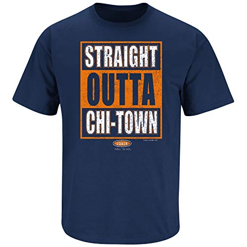 Chicago Football Fans. Straight Outta Chi-Town Navy T Shirt (Sm-5X) (Short Sleeve, 2XL)