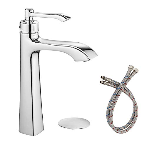 Greenspring Deck Mount Single Handle One Hole Chrome Commercial Bathroom Vessel Sink Faucet with Drain assembly and Faucet Supply Lines ()