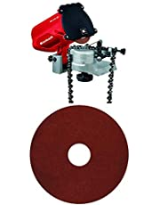 Einhell Afilador GC-CS 85 para cadenas de motosierra, 85 W, 220-240 V, color rojo y negro (ref. 4500089) & 4500076 Disco para afilador de cadenas de motosierra (3,2mm)