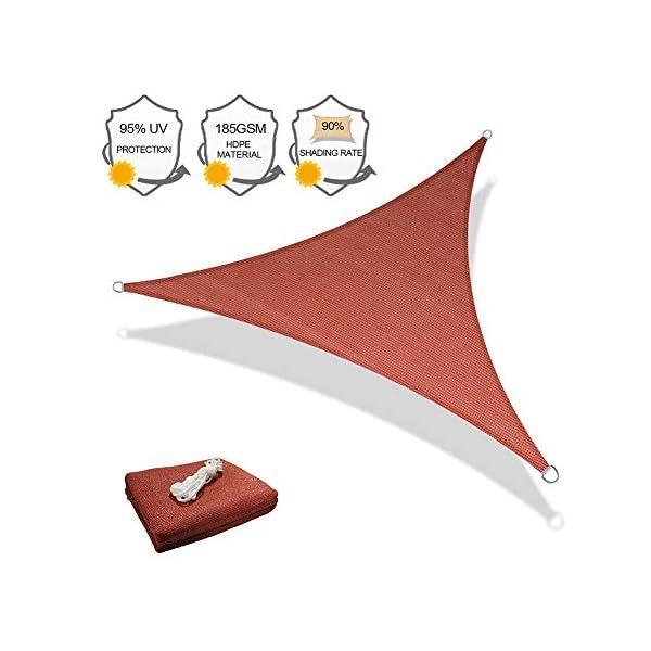 HEWYHAT Vela Telo Parasole Tenda Triangolare Ombreggiante in HDPE 3x3x3m Resistente Protezione UV 95% per Ombra Giardino Terrazzo con Aggancio Occhielli,Rust Red 1 spesavip