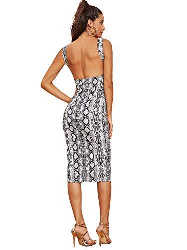 (MAKEMECHIC Women's Sleeveless Open Back Knit Sexy Midi Bodycon Dress Grey L)