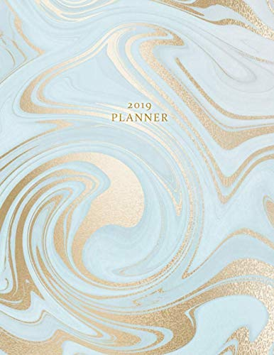 2019 Planner: Weekly and Monthly Planner Calendar Organizer Agenda (January 2019 to December 2019) Sky Blue Gold Marble -  Nifty Prints, Teacher's Edition, Paperback