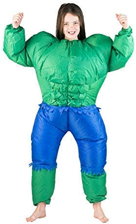 Kids ages 5-11 Bodysocks Inflatable Bodybuilder Fancy Dress Costume One size fits most