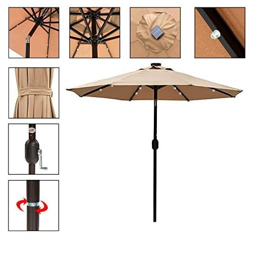 Garden and Outdoor Sundale Outdoor 7 ft Solar Powered 24 LED Lighted Patio Umbrella Table Market Umbrella with Crank & Push Button Tilt for… patio umbrellas