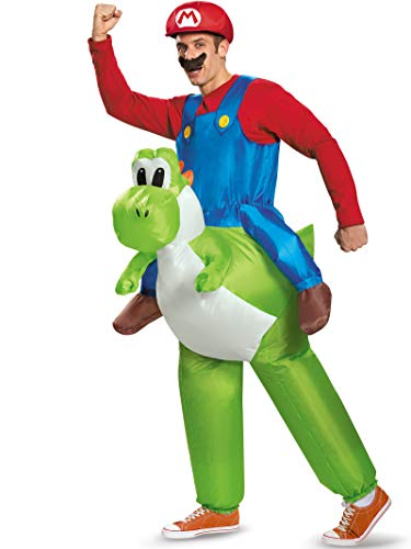 Halloween Express Princess Peach (Disguise Men's Mario Riding Yoshi Adult Costume, Multi, One)