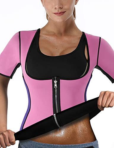 (NonEcho Women Sauna Body Shaper Sweat Suit Sleeve Spa Cami Hot Neoprene Slimming Workout Vest Weight Loss Top)