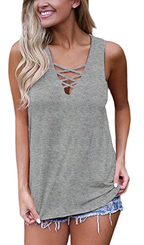 Sipaya Tank Tops for Women Tops V Neck Shirts Sexy Tops for Juniors Gray S