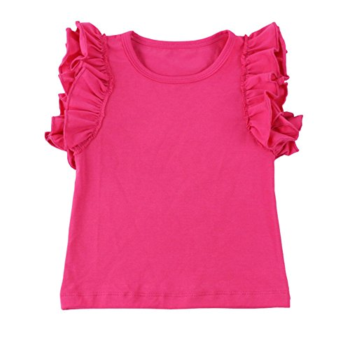 Wennikids Little Girls' Double Ruffle Solid Tank Top XX-Large Hot (Hot Pink Ruffle)