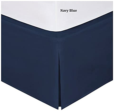 Mk Collection Full Size 100% Finest Quality Long Staple Brushed Microfiber Comfortable Quadruple Pleated Bed-skirt Solid Navy Blue New