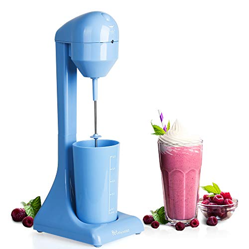 MYONAZ 500ML Milkshake Maker Electric with 18 Ounce Cup 2 Speed Switch Milk Shaker for Ice Cream Mango Bliss Plastic Drink Mixer 120V (Blue)
