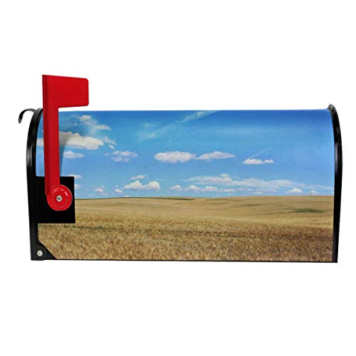 SANCR Yellow Meadow Magnetic Mailbox Cover,Double-Sided Printing,Vinyl,Size 18