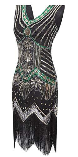 High end Factory Vintage 1920s Flapper Great Gatsby Dress 2018 Summer Fancy Costumes V-Neck Cap Sleeve Sequin Fringe -