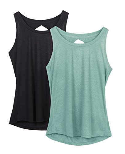 Yoga Activewear (icyZone Yoga Tops Activewear Workout Clothes Open Back Fitness Racerback Tank Tops for Women)