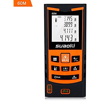 Suaoki S9 198ft Portable Laser Distance Measure, Laser Measure with 2 Bubble Levels ,Pythagorean Mode and Area , Volume Calculation and Range Finder / Digital Tape Measure
