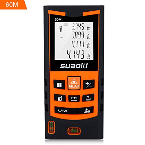 Suaoki S9 198ft Portable Laser Distance Measure, Laser Measure with 2 Bubble Levels ,Pythagorean Mode and Area , Volume Calculation and Range Finder / Digital Tape (Estate Single Range)