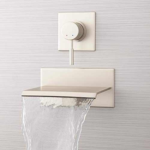 """Signature Hardware 378993 Lavelle 6-1/2"""" Waterfall Wall Mounted Tub Filler with Metal Lever Handle Diverter"""
