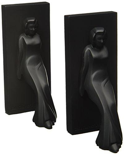 Kikkerland Pair of Leaning Ladies Bookends, Black