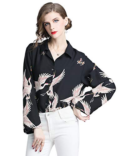 Women's Collared neck Floral Print Shirt Casual Long Sleeve Button up ()