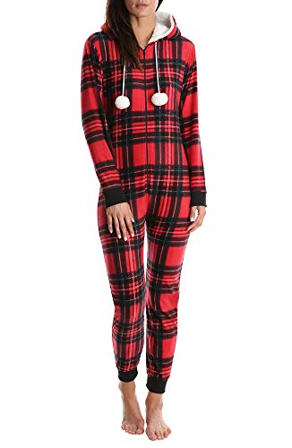 Nomad Women's Fleece Onesie - Hooded Zip Up One Piece Pajamas & Sleepwear - Red Plaid, X-Large -