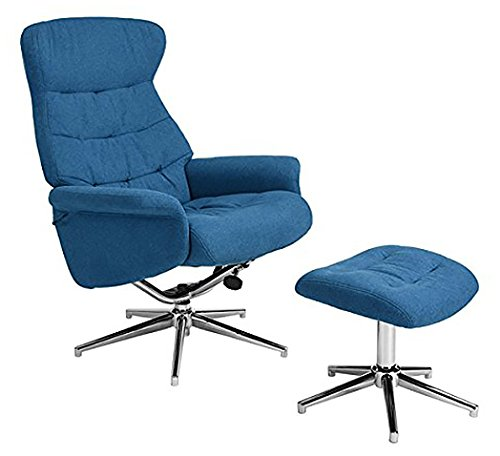 2pcs Set Blue Fabric Tufted Modern Recliner Leisure Accent Club Chair with Ottoman and Chrome Legs