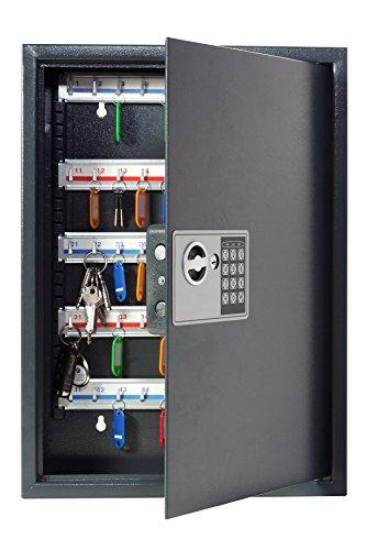 Pavo 8033911 Schlüssel-Kasten/Schrank/Tresor, High security mit elektronische Sicherung, 50 Haken mit seitlichem Schlüsseleinwurf, dunkelgrau