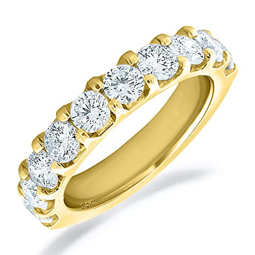 Eternity Wedding Bands 14K Yellow Gold 2ct Legacy Shared Prong (H-I Color, I1-I2 Clarity) Diamond Anniversary Ring Size 9 ()