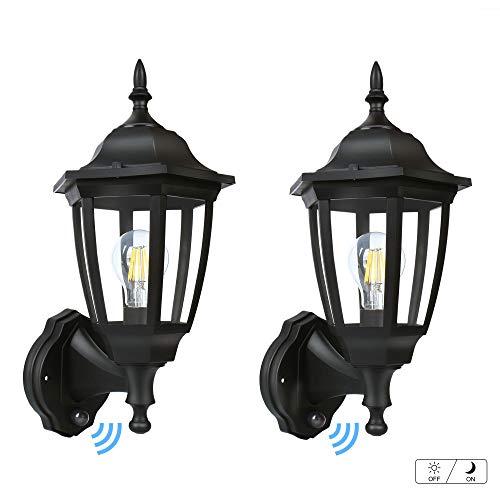 FUDESY Outdoor Dusk to Dawn LED Wall Lantern,Plastic Material Anti-Corrosion Black Porch Sensor Light with LED Edison Filament Bulb,Exterior Mount Lanterns for Porch, - Lantern Dawn