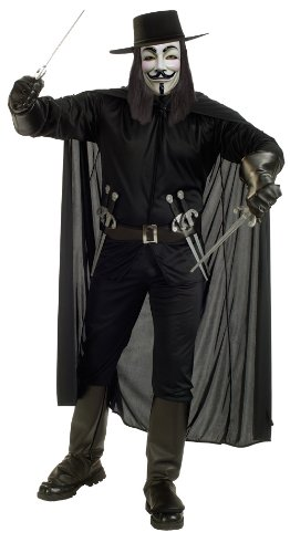 V For Vendetta Complete Costume, Black, X-Large -