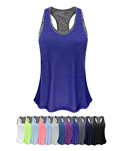 Women Tank Top with Built in Bra, Lightweight Yoga Camisole for Workout Gym Fitness(Royal Blue&Gray Bra, XXL)