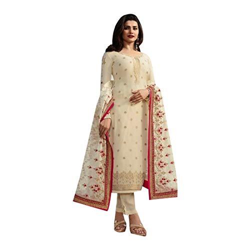Off White Colored Satin Georgette Designer Evening Salwar Kameez Suit Indian Women Dress - Cotton Kameez Off White Salwar