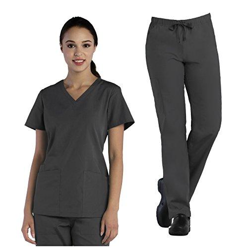 Tru Basic Womens V-Neck Top 10102 & Full Elastic Multi Pocket Cargo Pant 90103 Scrub Set (Pewter, XXX-Large)