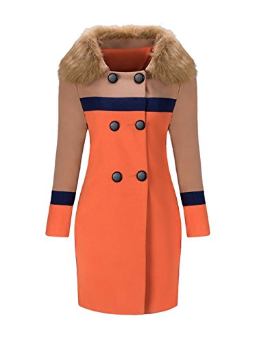 BubbleKiss Women Double Breasted Faux Fur Collar Color Block Woolen (Fold Over Collar Coat)
