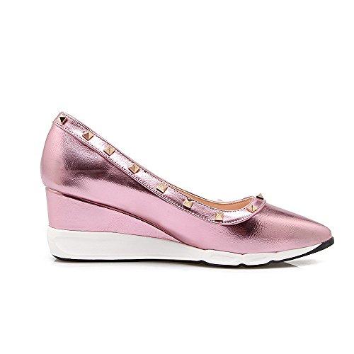 ... VogueZone009 Damen Rein Weiches Material Mittler Absatz Ziehen auf Spitz  Zehe Pumps Schuhe Pink ...