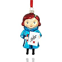 Macy's Yes Virginia 2015 Glass Christmas Ornament; Virginia Holding Believe 2015 and a Pencil