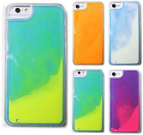 スマホケース ネオンサンド 蛍光 流れる グリッター 液体 キラキラ イエロー×グリーン iphone6 iphone6s iphone7 iphone8