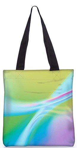 """Snoogg Multicolor Wellen Tragetasche 13,5 X 15 In """"Einkaufstasche Dienstprogramm Trage Aus Polyester Leinwand"""