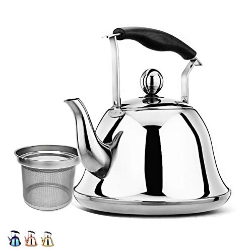 (Whistling Tea Kettle Stainless Steel Stovetop Teakettle Sturdy Teapot for Tea Coffee Fast Boiling with Infuser Color silver Mirror Finish 2 Liter / 2.1 Quart (Silver))