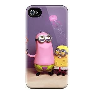 Bumper Hard Phone Cover For Iphone 4/4s (nhI4567WTOx) Custom Fashion Minions Sponge Bob Iphone Wallpaper Pictures
