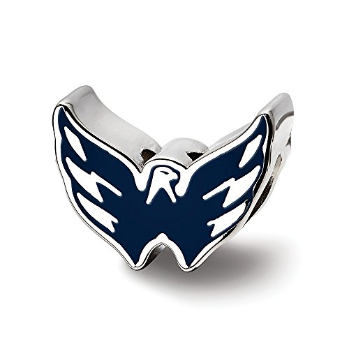 Solid 925 Sterling Silver NHL Washington Capitals Enameled Logo Bead Charm Very Small Pendant (14.8mm x 11.7mm)