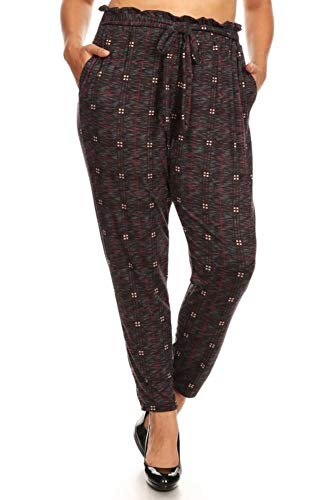 (ShoSho Womens Casual Plus Size Loose Fit Semi Harem Pants Paper Bag Wait Bottoms with Self Tie & Pockets Space Dye Plaid Burgundy/Grey 1X)