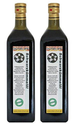 Schwarzkümmelöl 2x1000ml ungefiltert *** Sofort-Versand *** mühlenfrisch direkt vom Hersteller Kräuterland Natur-Ölmühle *** 100% naturrein